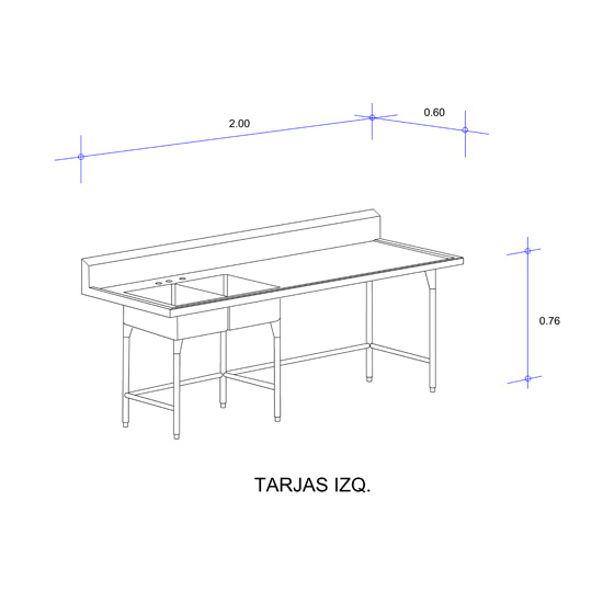 5556_Fregadero con Doble Tarja para Cristalería Mod
